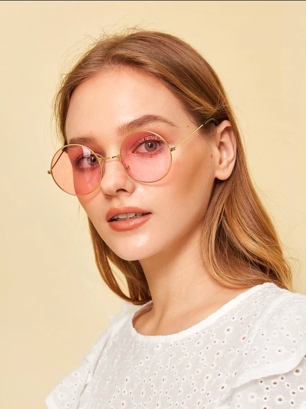 345752be32 SheIn Round Frame Tinted Sunglasses | Sunglasses Trends For 2019 ...