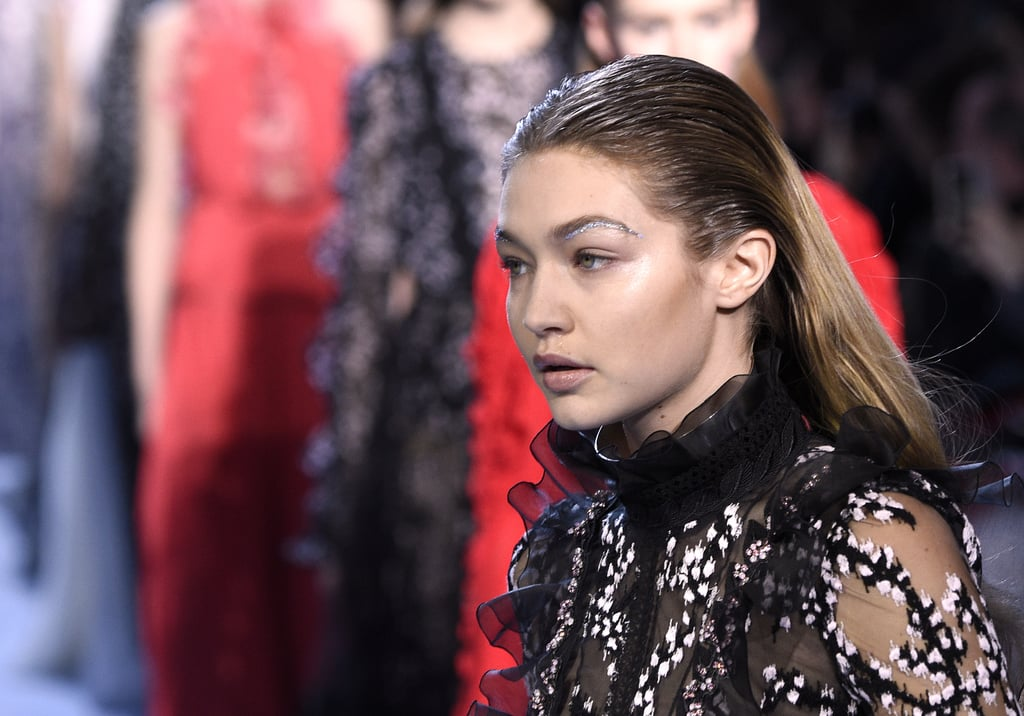 Gigi Hadid Glitter Eyebrows at Giambattista Valli 2016