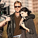 Ryan Gosling put his arm around Rooney Mara while filming scenes for Lawless in Austin.