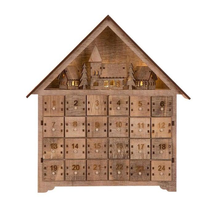 Glitzhome Natural Wood Finish House Advent Calendar Lowes.com