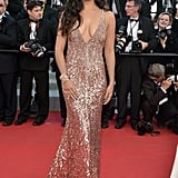 In 2012, Camila Alves hit the red carpet in a curve-hugging, shimmery gold gown.