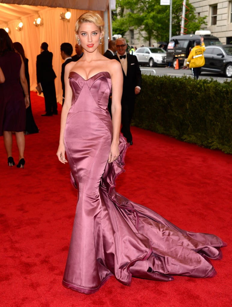 Amber Heard's mermaid-style Zac Posen gown wowed at the 2012 Met Gala in NYC.