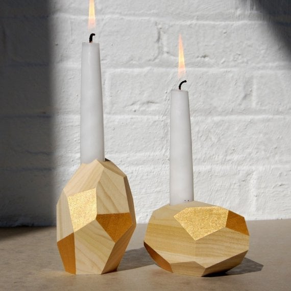 These Dorit Candleholders ($150 for pair) in 24k gold leaf would be a gorgeous, gem-like addition to your table.