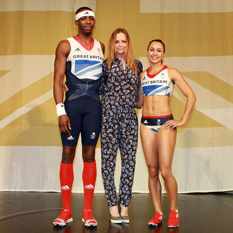 """Yesterday at the Tower of London, Stella McCartney revealed the Union Jack-inspired kit she has designed for the British Olympic team. More than 30 athletes including triple jumper Phillips Idowu and heptathlete Jessica Ennis swapped the sports stadium for the catwalk as they modeled the red, white and blue Adidas outfits. A pixellating grid runs across the two-tone blue flag emblem that adorns the chest, and shinpads and shoes are bold in red. Speaking about the Union Jack, the 40-year-old British designer said: """"For me it's one of the most beautiful flags in the world and it was important for me to stay true to that iconic design but also to modernise it and present it in a contemporary way.  Ultimately, we wanted the athletes to feel like a team and be proud with the identity we created."""" Stella worked with Adidas for more than two years perfecting the clothing, which 900 British Olympic and Paralympic competitors will wear in competitions, at medal ceremonies and during training. She has designed 590 different items that not only look patriotic but also aim to maximise efficiency across the 46 sports. Take a look at Team GB's designer kit here!"""