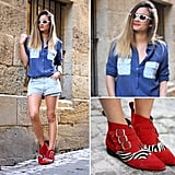 Denim on denim can be ultracool, especially if you mix the washes and add an unexpected dynamic element to the finished look (à la bold red ankle boots). Photo courtesy of Lookbook.nu