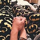 Matching superhero pajamas.