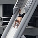 Matt Damon rode down a waterslide off the side of a megayacht in St. Barts in January 2012.
