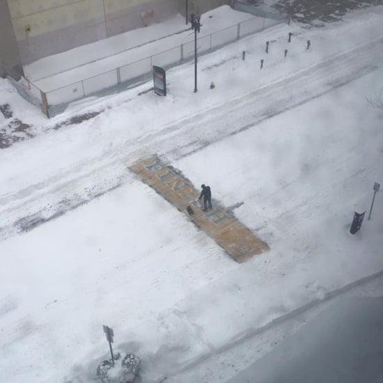 Man Shovels Boston Marathon Finish Line During Blizzard