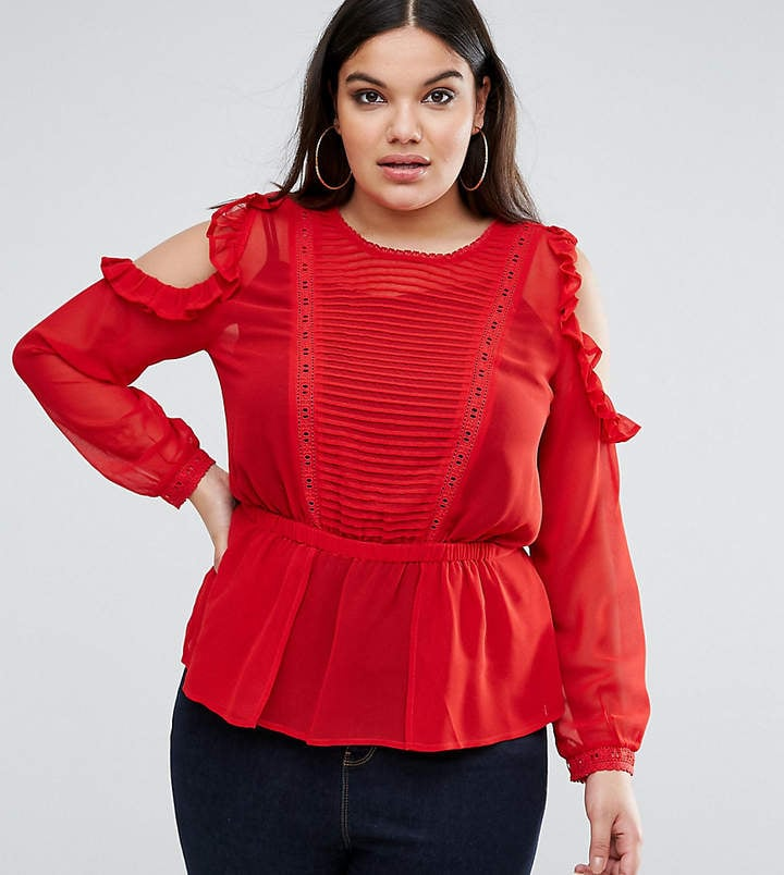 a032da29e214f0 Asos Ruffle Cold Shoulder Blouse with Pintuck Front and Lace Insert ...