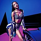 The Rihanna For River Island campaign featured a plethora of striped separates, as modeled by Jourdan Dunn.