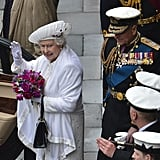 The queen waved as she left the Thames Diamond Jubilee Pageant.