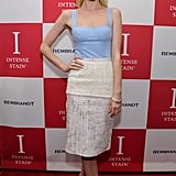 Jaime King's blue corset top and tweed pencil skirt pairing is simply sweet — we love the metallic bow pumps, too.