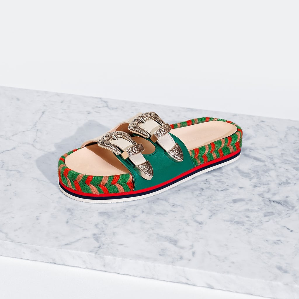 Tommy Hilfiger's Double Buckle Sandal ($160) is probably the most sturdy slide you can find with the most eye-catching details, including a multicolored braided espadrille platform.