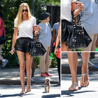 Get Jess Hart's Sports-Luxe Look With Gym Shorts, A White Tee, Balenciaga Bag & Sandals