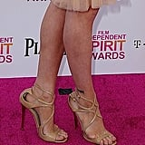 Brittany Snow matched up a dainty Naeem Khan dress with nude Jimmy Choo Lance sandals at the Spirit Awards.