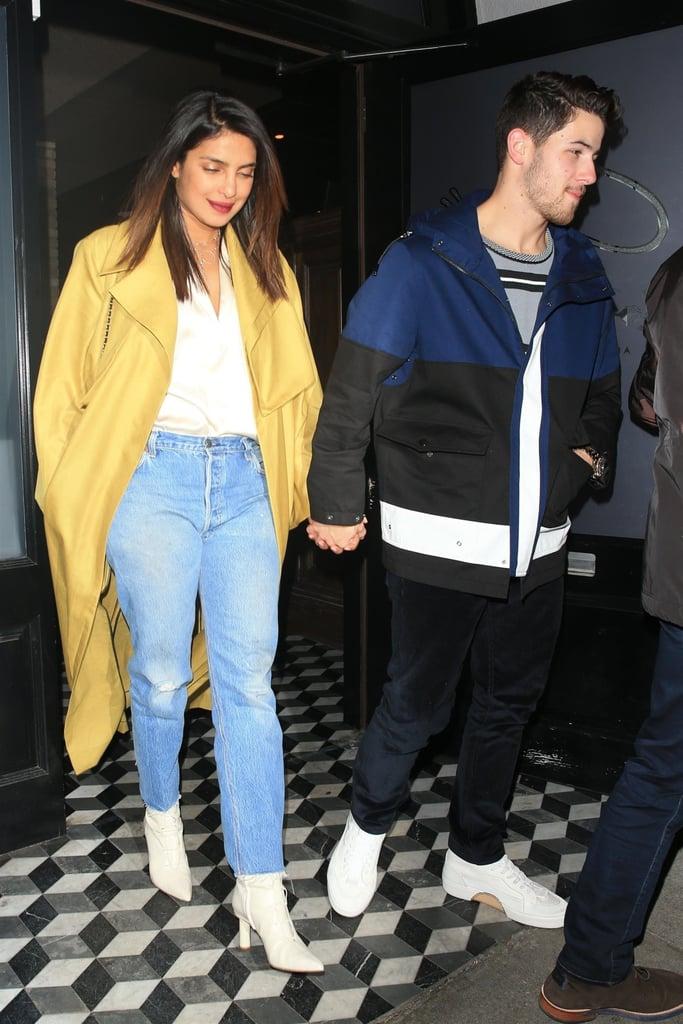Priyanka Chopra in Yellow Coat With Nick Jonas