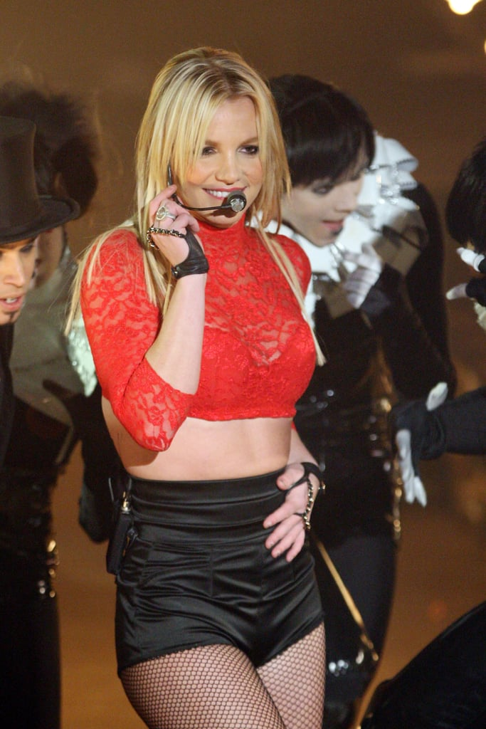 Britney Spears donned red lace to sing on Good Morning America in 2008.