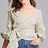 Forever 21 Striped Wrap Blouse