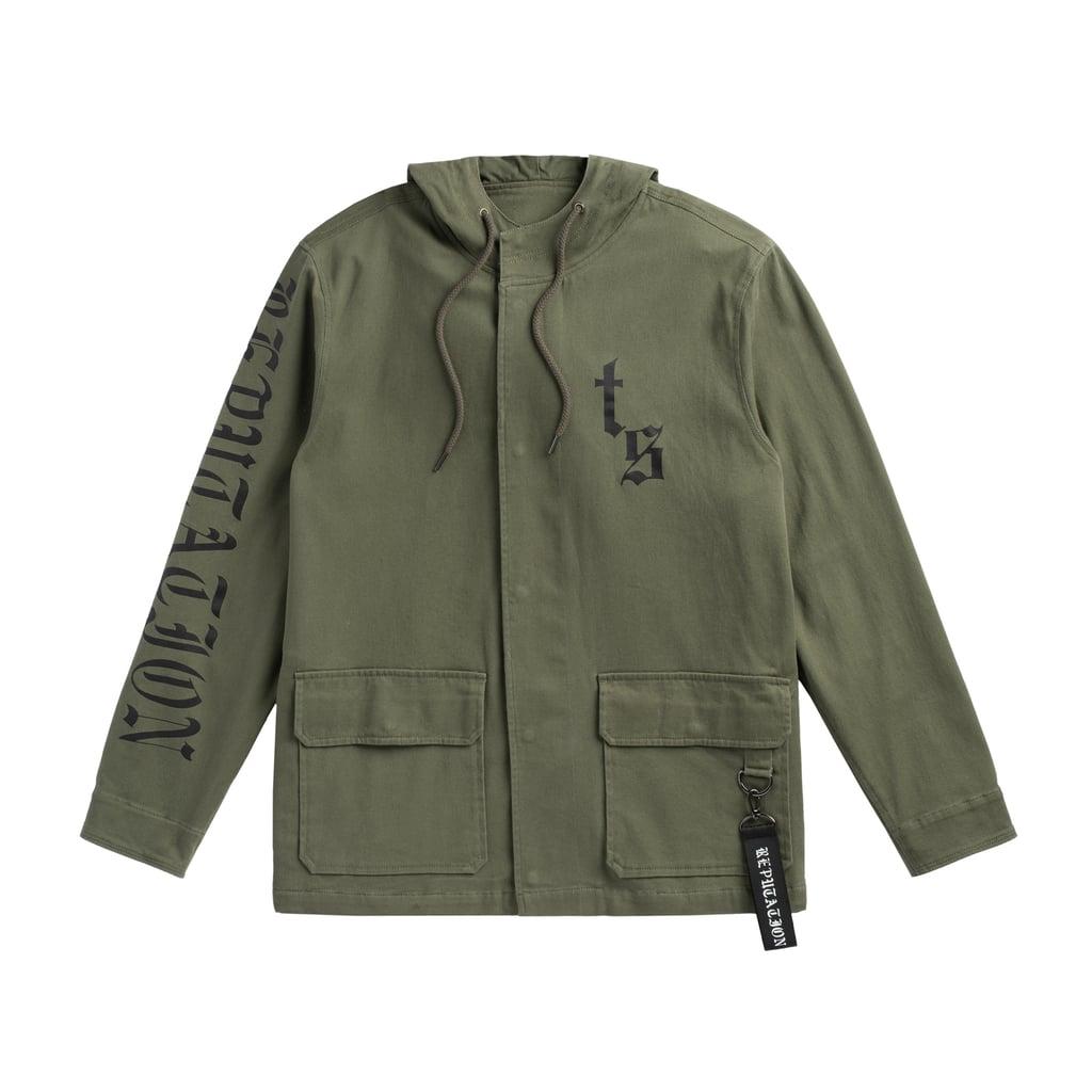 Olive Tour Jacket With Snake Design