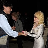 John Mayer got a warm southern greeting from Dolly Parton prior to an October 2010 benefit concert  in Nashville, TN.