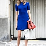 A dash of brilliant blue means this isn't your average day dress.