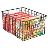 MDesign Farmhouse Decor Metal Wire Food-Storage Bin