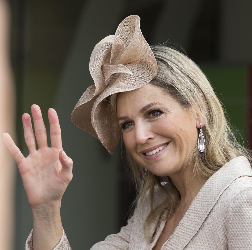 At an event in the Netherlands, Queen Maxima wore a sweep of linen on her crown.