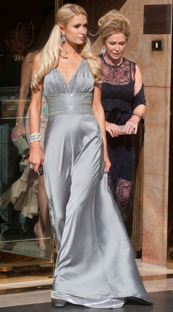 Paris Hilton looked stunning in silver.