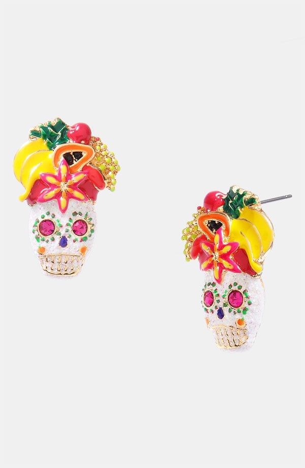 Betsey Johnson Skull Fruit Stud Earrings ($35)