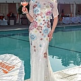 Dita Von Teese was a '40s-style siren in floral-embellished Jenny Packham for a party in Beverly Hills.