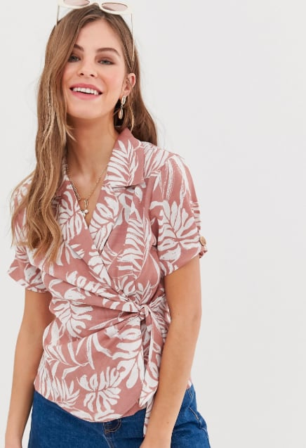 ASOS Design Hawaiian Print Linen Wrap Top