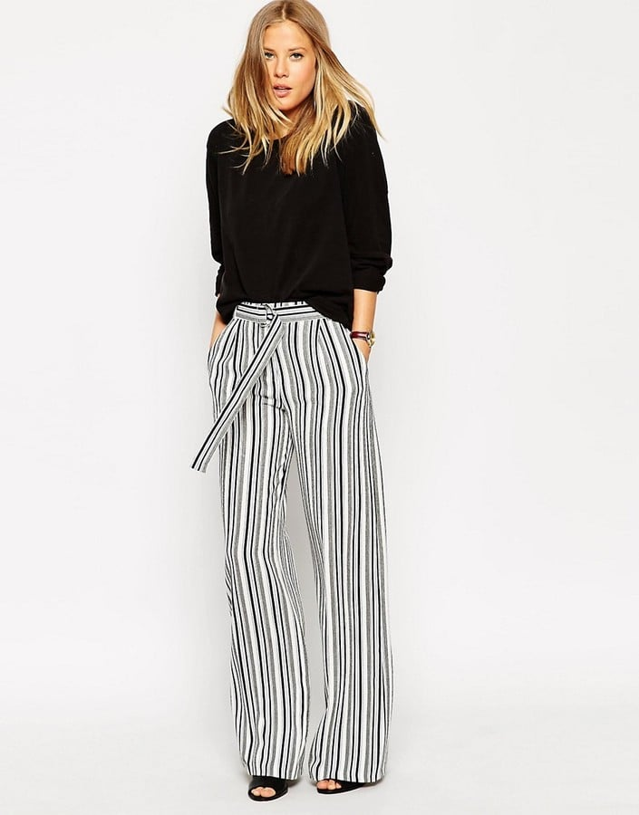 0c3f7ff65c040 ASOS Wide Leg Trouser With D-Ring in Stripe
