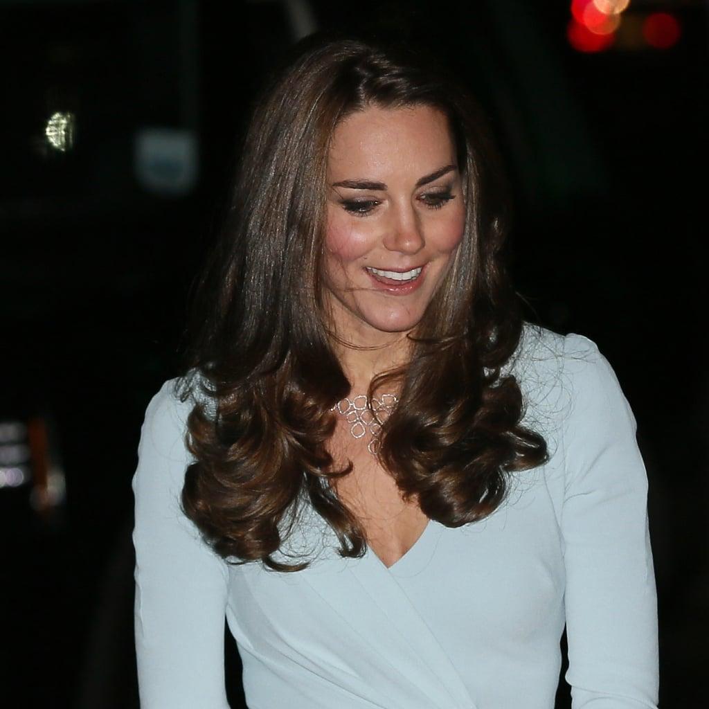 Kate Middleton Pregnant in Blue Jenny Packham Dress 2014
