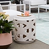 MoDRN Retro Glam Ivory Embossed Outdoor Garden Stool