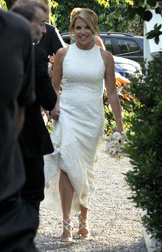 Katie wore a sleeveless dress.