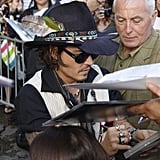 Johnny Depp signed autographs at the Jimmy Kimmel Live studios.