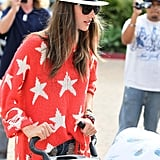 Alessandra Ambrosio wore a red sweater with white stars on it in LA.