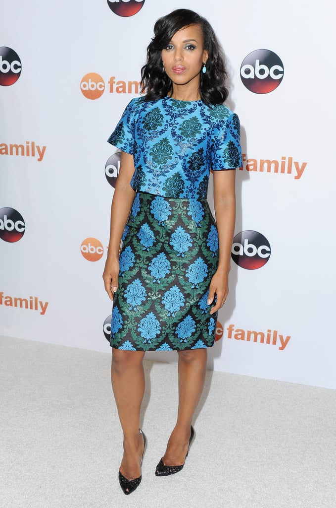 Longtime Mary Katrantzou fan Kerry Washington subtly mixed her prints for the Disney TCA Summer Press Tour in August 2015.