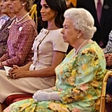 June: Meghan joins Harry and the queen for her Young Leader's Awards ceremony at Buckingham Palace.