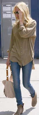 Kate Bosworth in Suede Booties and Button-Down Shirt