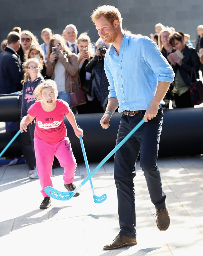 The royal played a fun game of street hockey with a group of kids during a visit to Robert Gordon University in Aberdeen, Scotland, in September 2016.