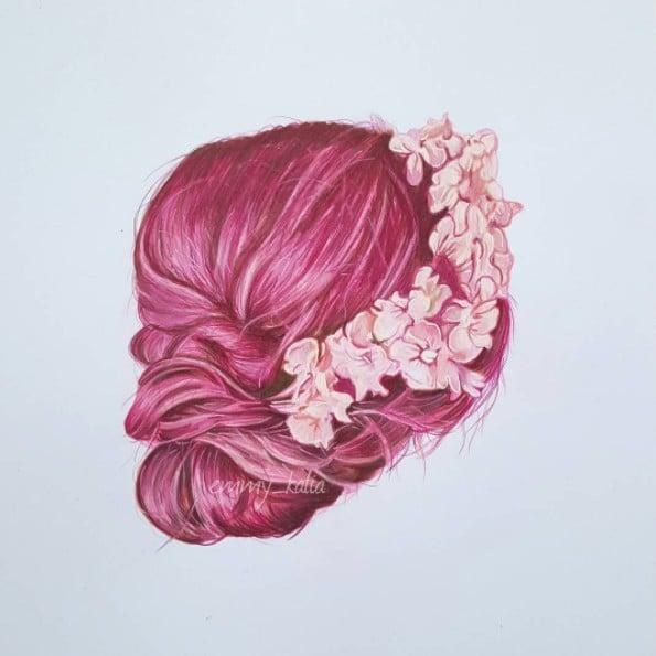 Hair Drawings Emmy Kalia Art | POPSUGAR Beauty UK