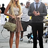 Blake Lively joked around with the crew between takes.