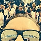 Ricky Gervais shared his view on the red carpet in this selfie.