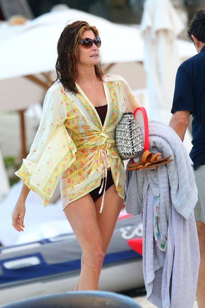 Stephanie Seymour walked around the beach in St. Barts.