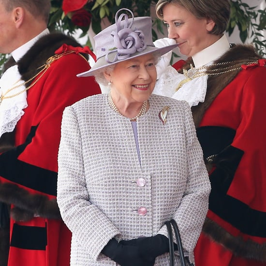 Queen Elizabeth Wearing Purple Tweed Coat