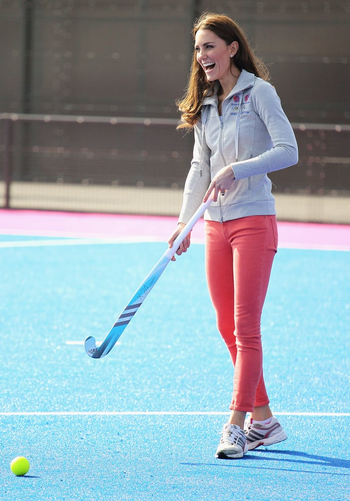 Kate Middleton wearing red pants in Olympic Park in London.