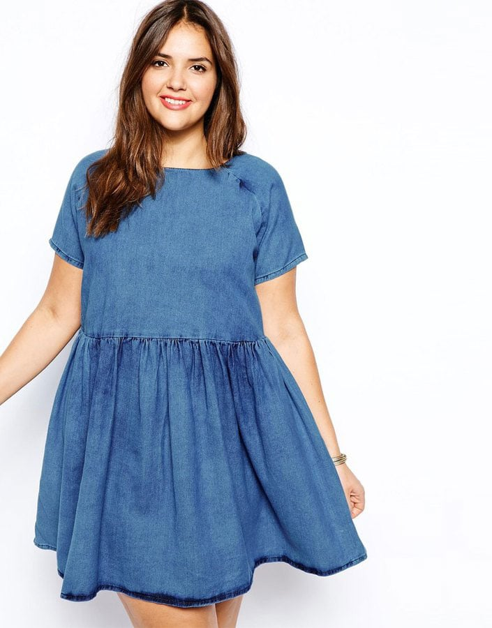 Plus size denim smock dress