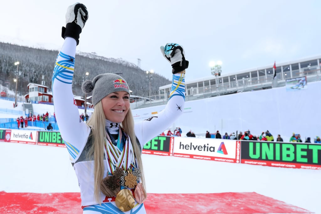 "After a decorated career and a series of frustrating knee injuries, Lindsey Vonn announced her retirement in the beginning of February. ""Despite extensive therapy, training, and a knee brace, I am not able make the turns necessary to compete the way I know I can,"" the four-time Olympian wrote on Instagram. Then, days later, on Feb. 5, she crashed during the super-G event at the FIS Alpine World Ski Championships in Are, Sweden. But Lindsey was determined to make it through to her final championship race on Sunday, Feb. 10: the downhill. And she bid the sport adieu with one last medal: a bronze. ""I laid it all on the line. That's all I wanted to do today,"" Lindsey said after her third-place win, according to NPR. ""I have to admit I was a little bit nervous, probably the most nervous I've ever been in my life. I wanted to finish strong so badly."" It was on these Swedish slopes that she won her first championship medals in 2007. Now, at 34, she's the oldest woman to receive a medal at worlds. Lindsey did not beat the record of 86 World Cup wins held by Ingemar Stenmark, but she still has the most World Cup victories of any female skier, with a total of 82. At the 2010 Vancouver Games, she became the first American woman to win an Olympic gold in the downhill. To top it all off, Sunday's bronze makes Lindsey the first female skier to win medals at six different world championships. ""I'll miss that wonderful sensation of speed that you can get only by racing down a hill on a pair of skis,"" Lindsey said at a press conference prior to her final event.  ""I DID IT!!!!"" she wrote on Instagram the morning of Feb. 11. ""One last medal in my final race . . . I couldn't have asked for anything more! Thanks everyone for the years of support, it means the world to me! I'll post more soon but first it's time to go home!"" Scroll through for some photos from the Feb. 10 downhill event. Plus, watch the incredible moment Lindsey, all smiles and full of speed, crosses the finish line for the last time. Congrats, Lindsey!      Related:                                                                                                           Lindsey Vonn Tells Us About the Workout That Makes Her Feel ""Incredibly Empowered"""