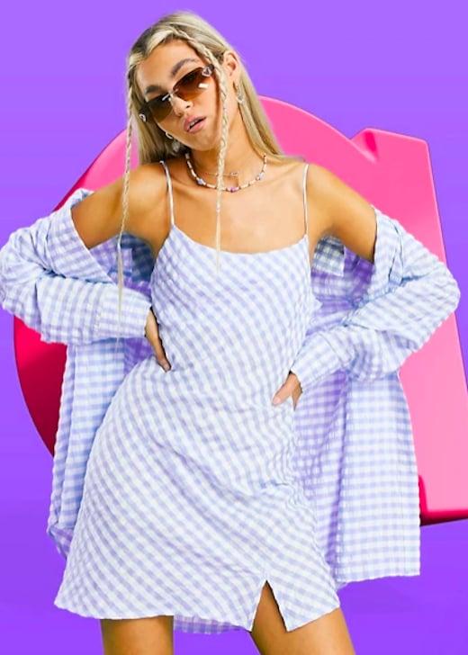 ASOS DESIGN Blue Gingham Slip Dress